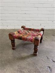 Sale 9080 - Lot 1042 - Timber framed woven footstool (h:29 x w:35 x d:35cm)