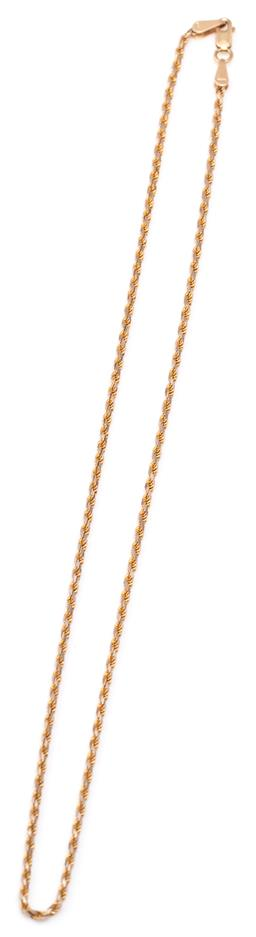 Sale 9115 - Lot 332 - A 14CT GOLD ROPE TWIST CHAIN; 1.4mm wide chain to parrot clasp with Italian hallmarks, length 41cm, 5.57g.