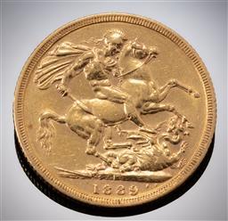 Sale 9153C - Lot 327 - 1889 AUSTRALIAN SOVEREIGN; Queen Victoria, Sydney mint, 22ct gold, wt. 7.95g.