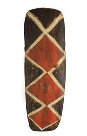 Sale 8770 - Lot 59 - A large and decorative Mendi war shield, Papua New Guinean with zig zag design, H x 133cm