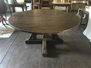Sale 8871H - Lot 123 - A Large rustic circular dining table on square form stretcher base. Height approx 78cm x Diameter approx 150cm