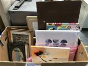 Sale 8953 - Lot 2076 - Box of Assorted Artworks incl. Decorative Prints and some Original Artworks
