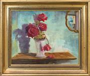 Sale 8958 - Lot 2043 - Artist Unknown Red Roses and Interior oil on board, 27 x 31cm (frame), signed