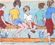 Sale 9072A - Lot 5067 - David Bromley (1964 - ) - Kids on the Fence 21 x 24 cm (frame: 53 x 67 cm)