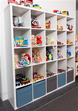 Sale 9150H - Lot 63 - A callax white shelving unit of 25 apertures, 182 x 182cm, toys not included