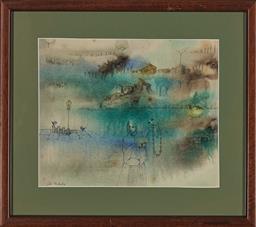 Sale 9155 - Lot 2044 - FELA MIDAGLIA Rain on the Lake, Tuscany watercolour 21.5 x 26.5 cm (frame: 34 x 38 x 2 cm) signed lower left, titled verso