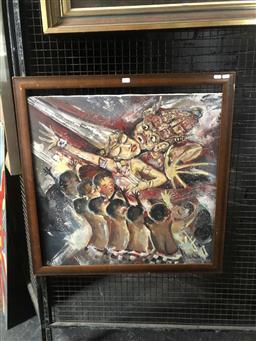 Sale 9152 - Lot 2039 - Balinese School  Ceremonial Dance acrylic, frame: 78 x 77 cm, signed lower left -