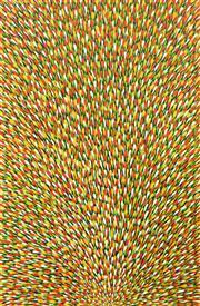 Sale 8478A - Lot 5047 - Mary Rumble Pitjara (c1957 - ) - Bush Tucker, Awelye, Bush Medicine 150 x 96cm (framed & ready to hang)