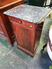 Sale 8562 - Lot 1045 - 19th Century French Mahogany Bedside Cabinet, with mottled grey marble top, having a drawer & panel door (marble top repaired)