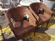 Sale 8601 - Lot 1226 - Pair of Wicker Tub Chairs