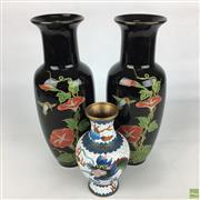 Sale 8649R - Lot 69 - Chinese Black Porcelain Pair of Vases (H: 27cm) with a Smaller Cloisonne Vase (H: 15cm)