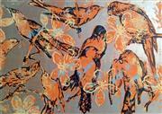 Sale 8659A - Lot 5015 - David Bromley (1960 - ) - Orange Birds 70.5 x 101cm