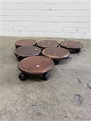 Sale 9080 - Lot 1046 - Set of 6 planters trolleys (d:29cm)
