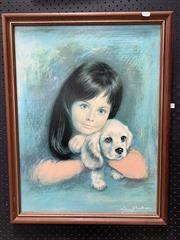 Sale 9092 - Lot 1019 - Vintage framed Girl with pup print by Louis Shabner (h:70 x w:60cm)