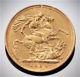 Sale 9153C - Lot 322 - 1894 AUSTRALIAN SOVEREIGN; Queen Victoria, Sydney mint, 22ct gold, wt. 7.96g.