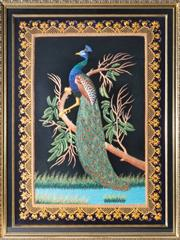 Sale 8375A - Lot 103 - An impressive Indian framed embroidered panel of a peacock on a branch, frame size 83 x 63cm