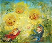 Sale 8484 - Lot 552 - David Boyd (1924 - 2011) - Children at Play with the Smiling Sunflowers 24 x 29cm