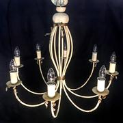 Sale 8516A - Lot 24 - An early French provincial hand finished eight branch chandelier, hand made ribbon detail, re-wired to Australian safety standards....