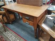 Sale 8676 - Lot 1369 - Maple Kneehole Desk with Two Drawers on Turned Legs