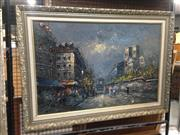 Sale 8767 - Lot 2060 - Artist Unknown, Paris Street Scene, acrylic on canvas board, frame size: 77 x 107cm, signed lower left