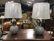 Sale 8822 - Lot 1851 - Pair of Shiny Aluminium Tripple Lamps (2142)