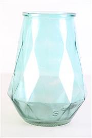 Sale 8980 - Lot 62 - Unusual Patented Vintage Honeycomb Moulded Flashed Teal Glass Vase, H: 24.5cm