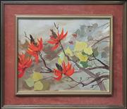 Sale 9053 - Lot 2016 - Margaret Wills, Red Flowers, acrylic on board, 49 x 57 cm (frame), signed lower left