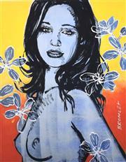 Sale 9072A - Lot 5083 - David Bromley (1964 - ) - Gillian with Frangipanis 36 x 28 cm (frame: 67 x 53 cm)