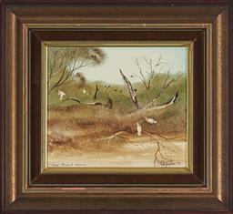 Sale 9155 - Lot 2056 - ROBERT TAYLOR (1924 - 2010) Major Mitchells Cockatoo, Murray River , 1979 oil on board 15.5 x 18 cm (frame: 28 x 31 x 3 cm) signed ...