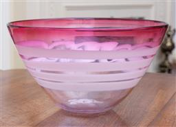 Sale 9190H - Lot 87 - Signed bowl with cranberry swirls, signed Morrell Melbourne Australia, Diameter 27cm x Height 15cm