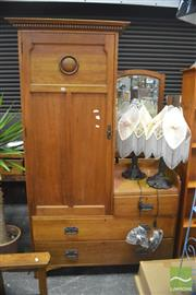 Sale 8317 - Lot 1024 - Edwardian Maple Wardrobe / Dressing Chest, with a long door & three drawers