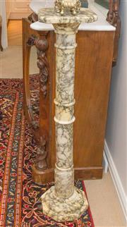 Sale 8341A - Lot 52 - A pair of Italian carrara verde antico marble pedestals, H 96cm