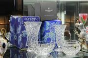 Sale 8348 - Lot 62 - Waterford Crystal Dish in Box & 2 Bohemia Vases in Boxes