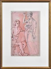 Sale 8415 - Lot 505 - Louis Kahan (1905 - 2002) - Art Student and Caryatid, 1985 54 x 35.5cm