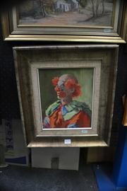 Sale 8441T - Lot 2021 - Olive McAleer (1980s - 1990s) - Clown 25 x 20.5cm