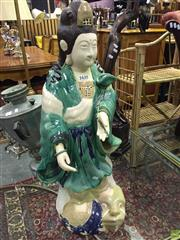 Sale 8620 - Lot 1007 - Large Pottery Garden Figure of Guanyin Standing on a Dragon