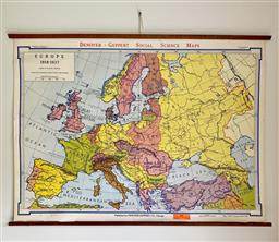 Sale 9142A - Lot 5054 - Vintage Map of Europe 1918 - 1937, made in Chicago by Denoyer - Geppert, 83 x 114 cm
