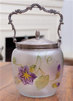 Sale 9190H - Lot 78 - A floral opaque handpainted biscuit barrel with metal handle, Height 17cm