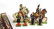 Sale 8330T - Lot 64 - Collection of Vintage French Paper Soldiers; 9th Light Infantry Regiment and musicians (with part of original boxes), and 2nd Hussar...