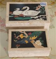 Sale 8375A - Lot 105 - Two marble boxes, one with swans the other a peacock, larger L 19cm