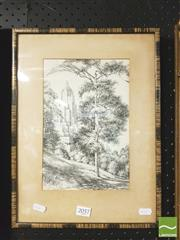 Sale 8413T - Lot 2057 - Ruth Silver (XX) - Park Scene with distant view of Building 26.5 x 17cm