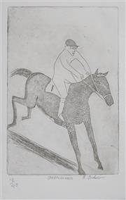 Sale 8443A - Lot 5067 - Robert Dickerson (1905 - 2015) - Steeple Chase 22.5 x 15.5cm, sheet size: 28 x 19cm