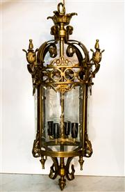 Sale 8516A - Lot 26 - A French gothic style bronze lantern with curved hand etched glass, re-wired to Australian safety standards. 70cm high x 30cm diam...