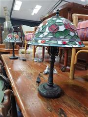 Sale 8669 - Lot 1070 - Pair of Leadlight Shade Table Lamps