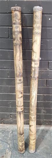 Sale 8971 - Lot 1081 - Pair of Bamboo Rain Makers (L:121cm)