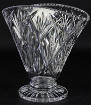 Sale 8985G - Lot 644 - Vintage Fan Shaped Stuart Crystal Vase, signed to base , h 22cm