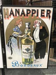 Sale 9024 - Lot 2011A - A reproduction Hanappier Bordeaux Liqeaur  Poster by Albert Guillaume, offset lithograph 98 x 71cm -