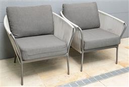 Sale 9150H - Lot 97 - A pair of woven + poolside chairs in grey, Height of back 73cm, Depth 63cm, marked B86362 to base