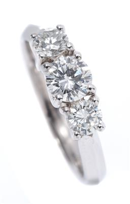 Sale 9199J - Lot 53 - AN 18CT WHITE GOLD THREE STONE DIAMOND RING; bead claw set with a central round brilliant cut diamond of 0.44ct H/SI12 and 2 side ro...