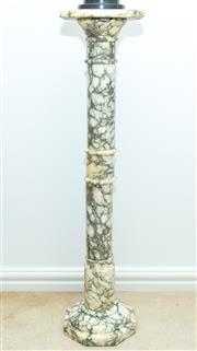 Sale 8341A - Lot 10 - A pair of Italian carrara verde antico marble pedestals, H 96cm